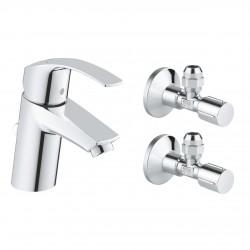 Monomando de lavabo con llaves de corte, 1/2″